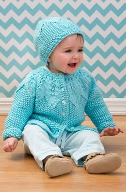 Star Bright Baby Cardigan & Hat in Red Heart Soft Baby Steps - LW3596EN