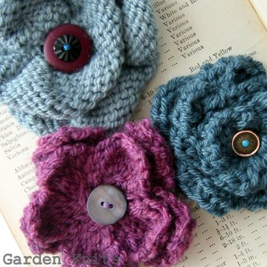 Corsage Flower Brooch Trio Knitting Pattern By Garden Knits