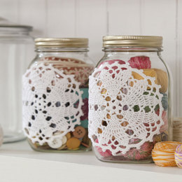 Hearts Desire Doily-ed jars in Aunt Lydia's Classic Crochet Thread Size 10 Natural - LC3047