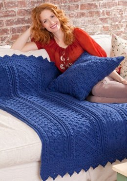 Basketweave Diamond Throw & Pillow in Red Heart With Love Solids - LW2919