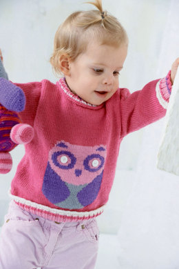 Sweater with Owl in Schachenmayr Baby Wool - S8645 - Downloadable PDF