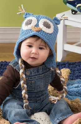 Owl Baby Hat in Red Heart With Love Solids - LW4294 - Downloadable PDF