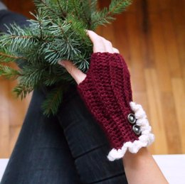 Knit look fingerless mittens with ruffles
