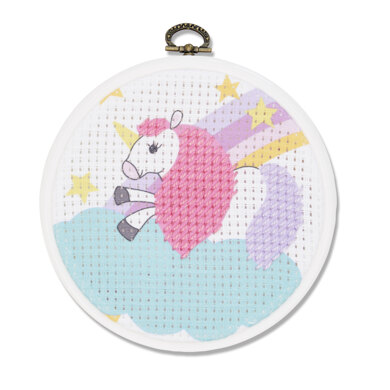 DMC The Unicorn Cross Stitch Kit (with 5in plastic hoop) - 5in