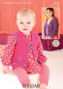 Cardigan and Waistcoat in Sirdar Snuggly 4 Ply 50g - 4473