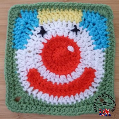 'Jolly Clown' Afghan Square