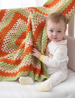Big Granny Baby Blanket in Bernat Softee Baby Solids