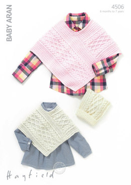 Poncho and Hat in Hayfield Baby Aran - 4506 - Downloadable PDF
