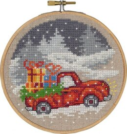 Permin Red Truck Cross Stitch Kit (with hoop) - Multi