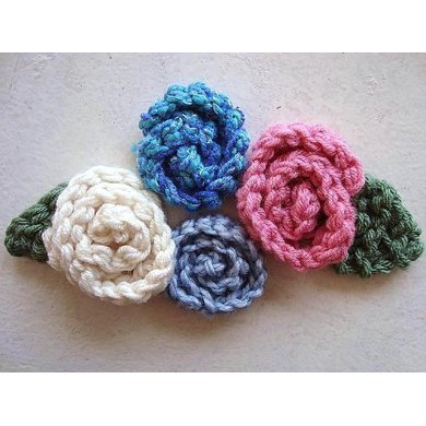 606, KNITTED rolled rose, and leaf