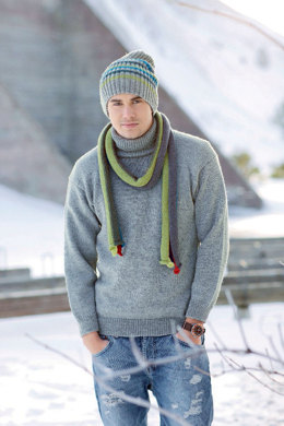 Grauer Herrenpullover in Schachenmayr Merino Extrafine 120 - S7040 - Downloadable PDF