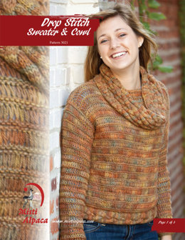 Drop Stitch Sweater & Cowl in Misti Alpaca Best of Nature Worsted - 3021 - Downloadable PDF