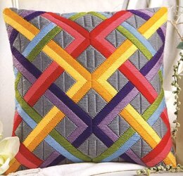 Vervaco Colourful Diagonals Long Stitch Cushion Front - 40 x 40cm