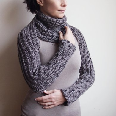 Knitting Pattern For Scarf With Sleeves : Knit look sleeve scarf Crochet pattern by Accessorise
