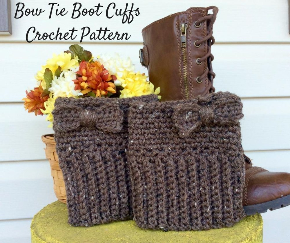 Bow Tie Boot Cuffs Crochet Pattern By Loopychiccrochet