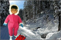 Snowsuit with Accessories,  Knitting Patterns fit American Girl and other 18-Inch Dolls