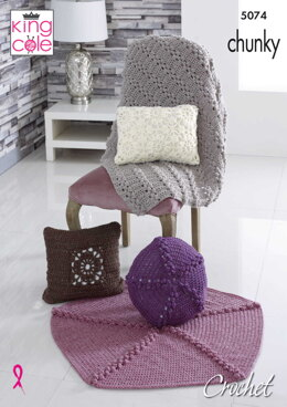 Crochet Cushions and Throws in King Cole Big Value Chunky - 5074 - Downloadable PDF