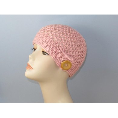 Button Up Lace Beanie Circular knitting pattern
