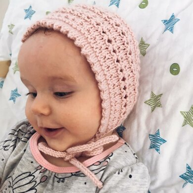 Baby Bonnet with lace design and picot edging - Savannah