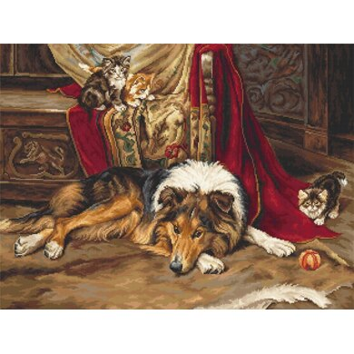 Luca-S A Reluctant Playmate Cross Stitch Kit - 45cm x 34cm