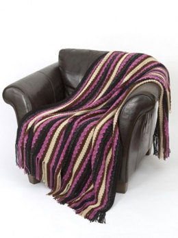 Textured Stripes Throw in Caron Simply Soft - Downloadable PDF