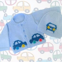 Baby Car Cardigan and Hat