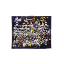Prym Glass-Headed Pins No. 9 Assorted Colours 0.60 x 30 mm with Box