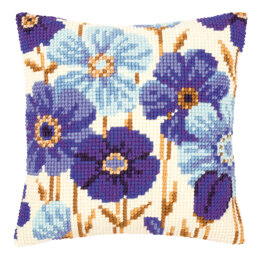 Vervaco Blue Flowers Cushion Front Chunky Cross Stitch Kit - 40cm x 40cm