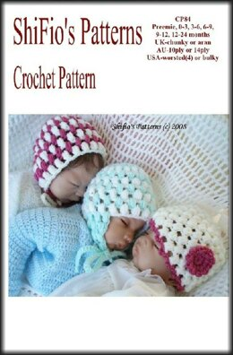 Loopy Hats Baby Crochet Pattern UK & USA Terms #84