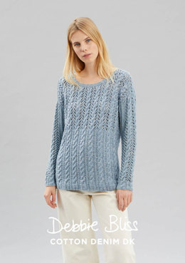 """Suki Jumper"" - Jumper Knitting Pattern For Women in Debbie Bliss Cotton Denim DK - DB177"