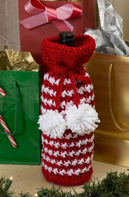 Holiday Spirits Bottle Bag in Red Heart Holiday - LW3206 - Downloadable PDF