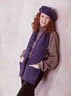 Crochet Beret & Scarf in Lion Brand Homespun