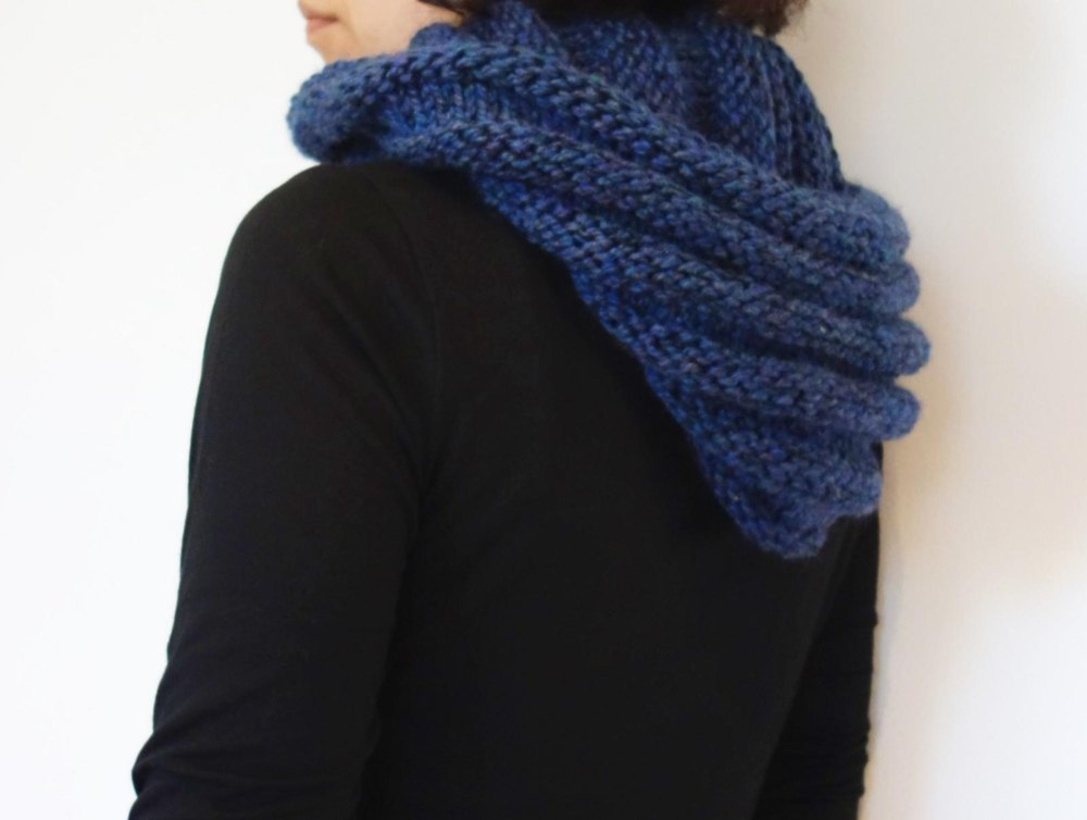 Hooded Ribbed Infinity Scarf Knitting pattern by ...