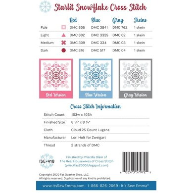 It's Sew Emma Starlit Snowflake Cross Stitch Pattern - ISE-418 - Leaflet