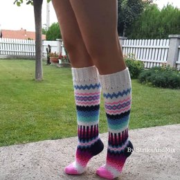 Navy Blue and Pink Knee Socks