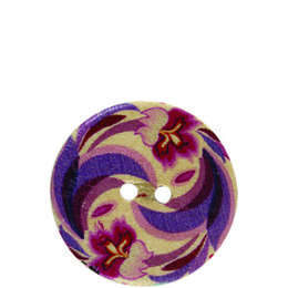 Orchid Flower Wood 20mm 2-Hole Button