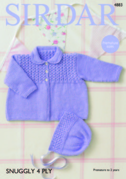 Baby Girl's Coat & Bonnet in Sirdar Snuggly 4Ply - 4883 - Downloadable PDF