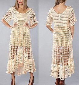 Crochet maxi summer boho dress pattern.