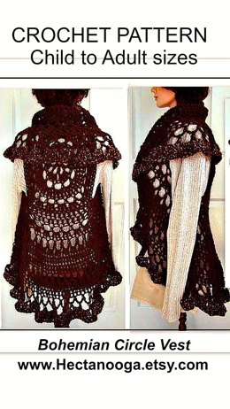 718, BOHEMIAN CROCHET VEST, LONG OR SHORT, CHILD AND ADULT