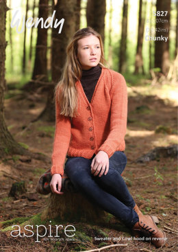 Sweater, Cardigan and Cowl Hood in Wendy Aspire Chunky - 5827