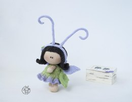 Butterfly amigurumi doll knitted flat