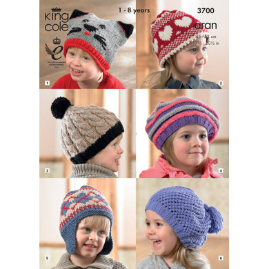 Hats in King Cole Fashion Aran & Comfort Aran- 3700