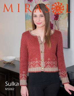 Decorative Border Cropped Cardigan in Mirasol Sulka - M5082