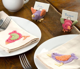 Colorful Bird Table Setting in Aunt Lydia's Fashion Crochet Thread Size 3 - LC2194 - Downloadable PDF