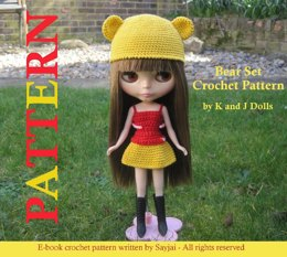 Bear Hat and Dress For Blythe Doll - Crochet Pattern