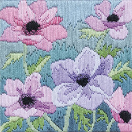 Derwentwater Designs Purple Anenomes Long Stitch Kit - 11 x 11 cm