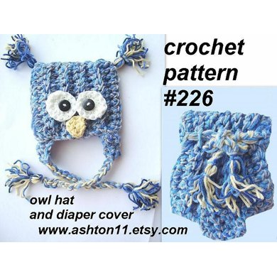 Owl Hat and Diaper Cover | Crochet Pattern 226