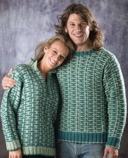 His and Hers A Pullover in Universal Yarn Deluxe Chunky