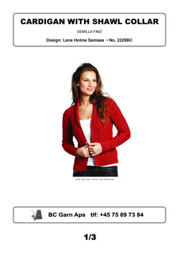 Cardigan with Shawl Collar in BC Garn Semilla Fino - 2229BC - Downloadable PDF