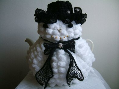 """""""You've Been Snowballed"""" Snow Woman  Tea Cosy with Toy Variation"""